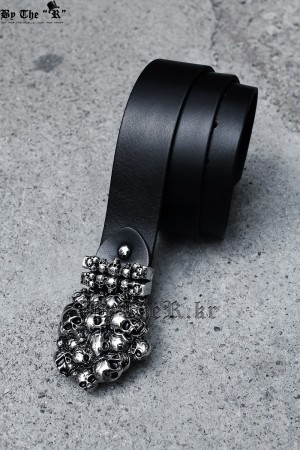 ByTheR Skull Tomb Shape Custom Buckle Leather Belt