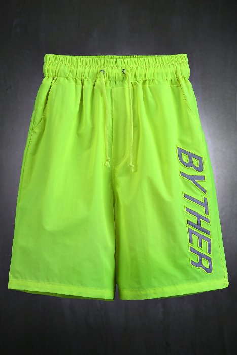 ByTheR Reflective Neon  Lettering Scotch  Beach Shorts