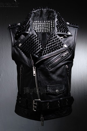 Real Goat Leather Custom Black Metal Stud All Over Vest