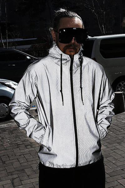 Mesh Layered Reflective Windbreaker Jacket