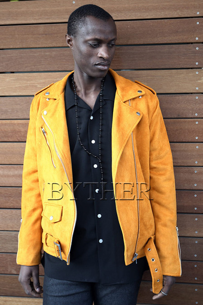 Suede Zipper Belt Rider Jacket