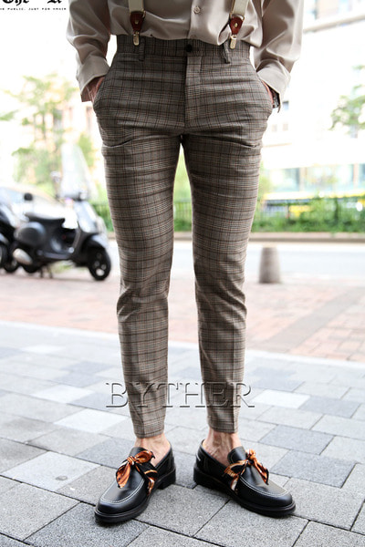 Modern Brown Check Slacks