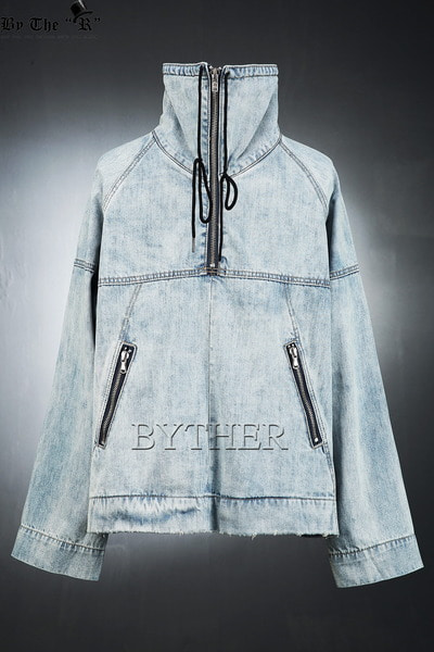 Lettering Washed Denim Anorak