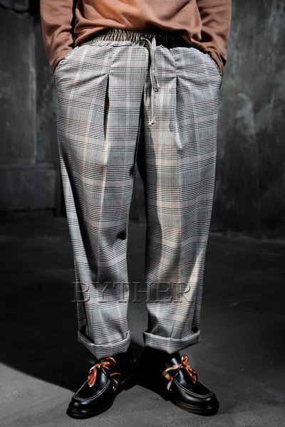 Glen Check Banding Wide Pants