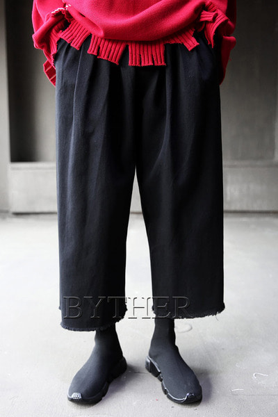 Cutting Pocket Close Crop Wide Pants