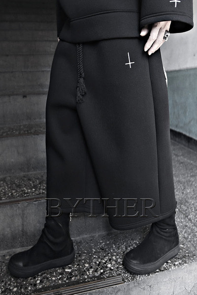 ByTheR X ProjectR Cross Embroidery Neoprene Crop Pants