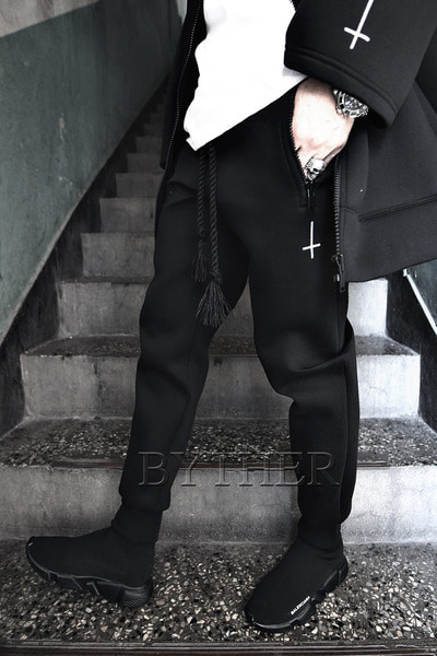 ByTheR X ProjectR Cross Embroidery Neoprene Jogger Pants