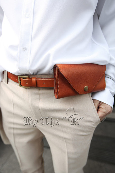 Pouch Layered Leather Belt