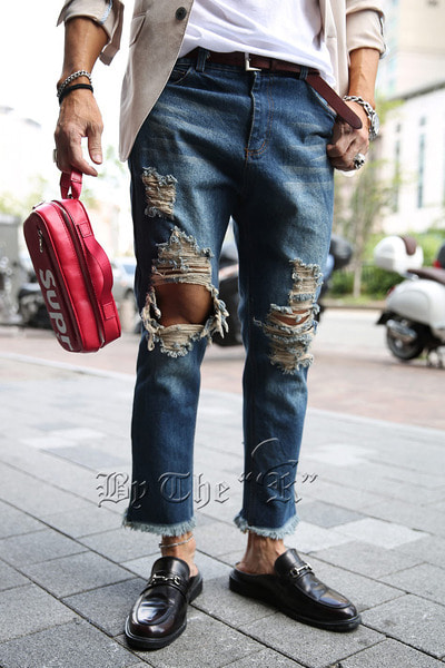 Damage Washed Blue Denim Jeans