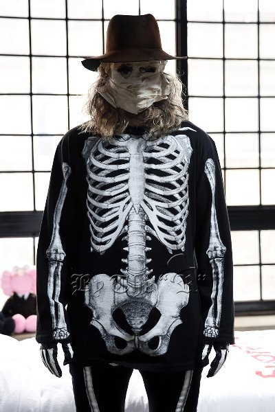 ByTheR Skeletal Print Crewneck T-Shirts