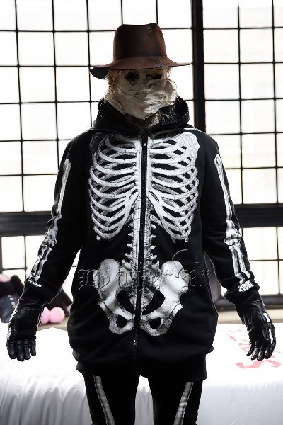 ByTheR Skeletal Print Zip-up Hoodie