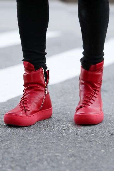 Diagonal String Red Leather High-top Sneakers