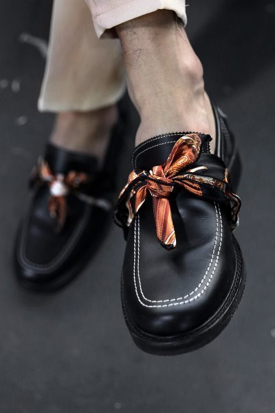 Scarf Detail Leather Loafer