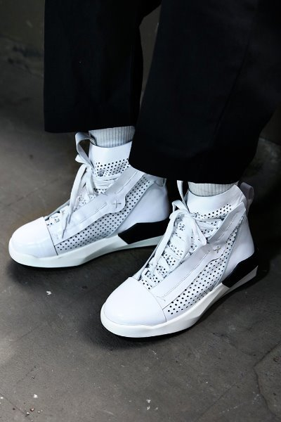 Mesh Leather High-top Sneakers